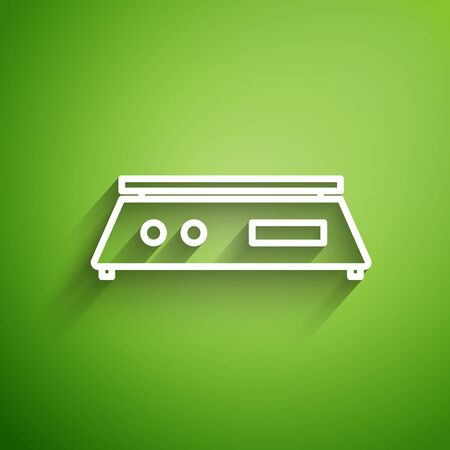 White line Electronic scales icon isolated on green background. Weight measure equipment. Vector Illustration Illusztráció