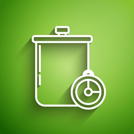 White line Cooking pot and kitchen timer icon isolated on green background. Boil or stew food symbol. Vector Illustration