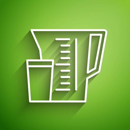 White line Measuring cup to measure dry and liquid food icon isolated on green background. Plastic graduated beaker with handle. Vector Illustration