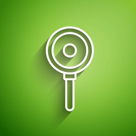 White line Frying pan icon isolated on green background. Fry or roast food symbol. Vector Illustration