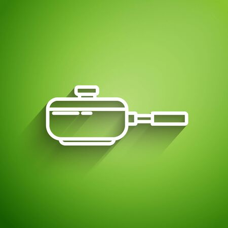 White line Frying pan icon isolated on green background. Fry or roast food symbol. Vector Illustration 일러스트