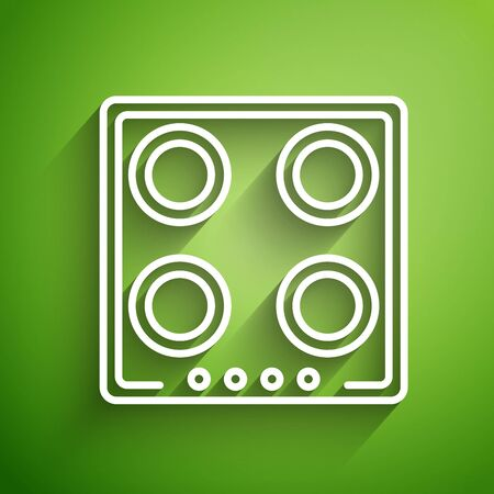 White line Gas stove icon isolated on green background. Cooktop sign. Hob with four circle burners. Vector Illustration Standard-Bild - 134822557