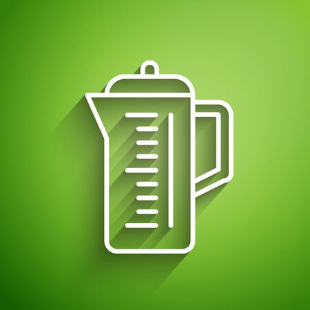 White line Teapot icon isolated on green background. Vector Illustration Çizim