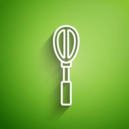 White line Kitchen whisk icon isolated on green background. Cooking utensil, egg beater. Cutlery sign. Food mix symbol. Vector Illustration
