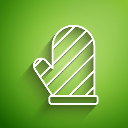 White line Oven glove icon isolated on green background. Kitchen potholder sign. Cooking glove. Vector Illustration