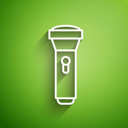 White line Flashlight icon isolated on green background. Vector Illustration