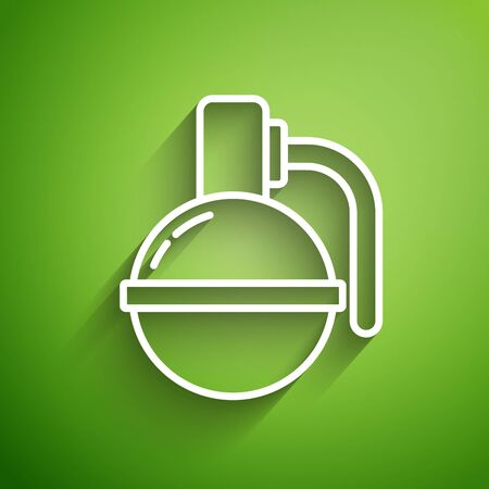 White line Hand grenade icon isolated on green background. Bomb explosion. Vector Illustration