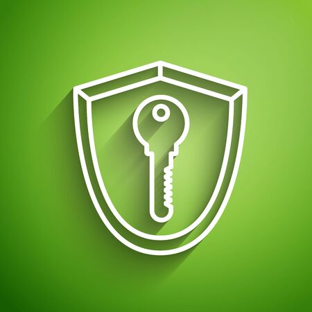 White line Shield with key icon isolated on green background. Protection and security concept. Safety badge icon. Privacy banner. Defense tag. Vector Illustration Illusztráció