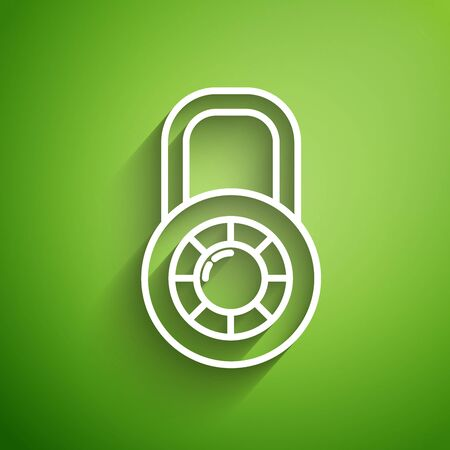 White line Safe combination lock wheel icon isolated on green background. Combination padlock. Security, safety, protection, password, privacy. Vector Illustration