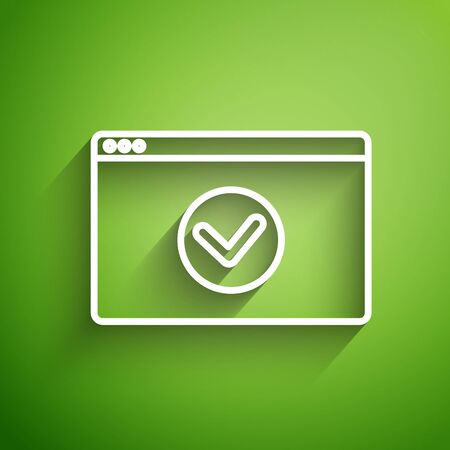 White line Secure your site with HTTPS, SSL icon isolated on green background. Internet communication protocol. Vector Illustration