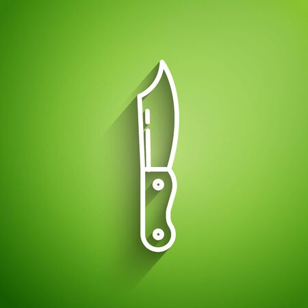 White line Military knife icon isolated on green background. Vector Illustration  イラスト・ベクター素材
