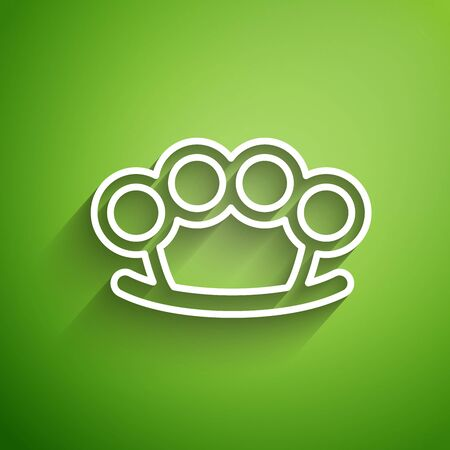 White line Brass knuckles icon isolated on green background. Vector Illustration Archivio Fotografico - 134826458