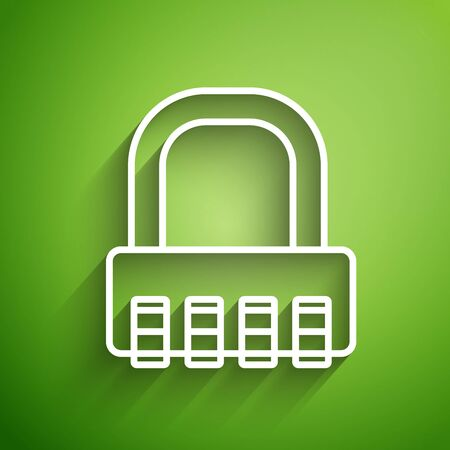 White line Safe combination lock icon isolated on green background. Combination padlock. Security, safety, protection, password, privacy. Vector Illustration