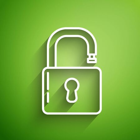 White line Open padlock icon isolated on green background. Opened lock sign. Cyber security concept. Digital data protection. Safety safety. Vector Illustration Illusztráció