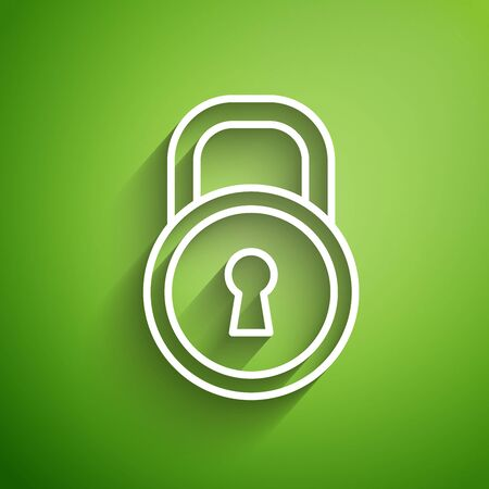 White line Lock icon isolated on green background. Padlock sign. Security, safety, protection, privacy concept. Vector Illustration Illusztráció