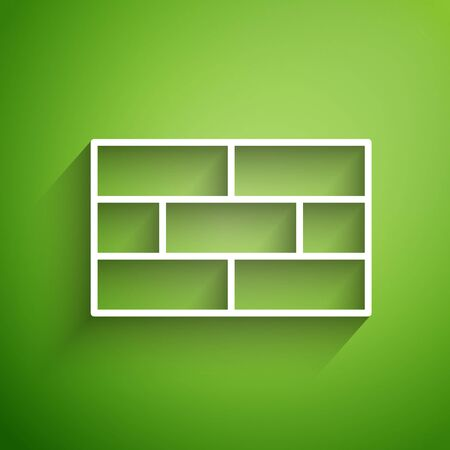 White line Bricks icon isolated on green background. Vector Illustration