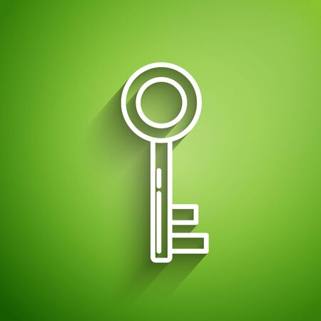 White line Key icon isolated on green background. Vector Illustration