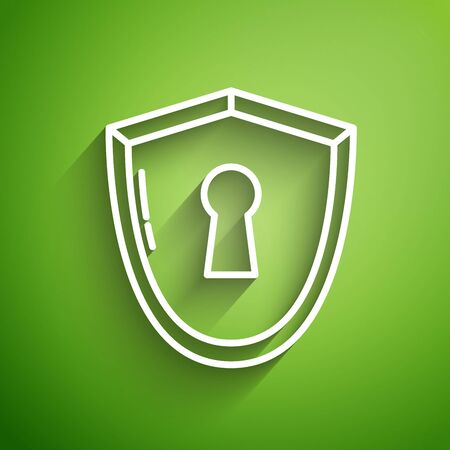 White line Shield with keyhole icon isolated on green background. Protection, security concept. Safety badge icon. Privacy banner. Defense tag. Vector Illustration