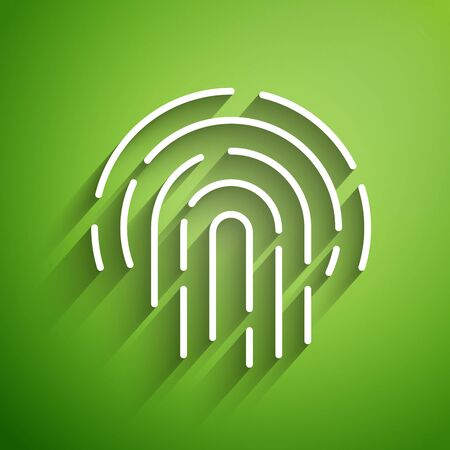 White line Fingerprint icon isolated on green background. ID app icon. Identification sign. Touch id. Vector Illustration
