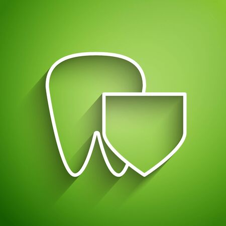 White line Tooth with shield icon isolated on green background. Dental insurance. Security, safety, protection, protect concept. Vector Illustration