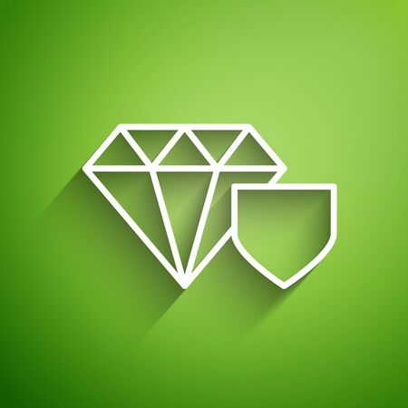 White line Diamond with shield icon isolated on green background. Jewelry insurance concept. Security, safety, protection, protect concept. Vector Illustration