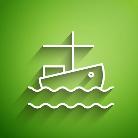 White line Fishing boat on water icon isolated on green background. Vector Illustration