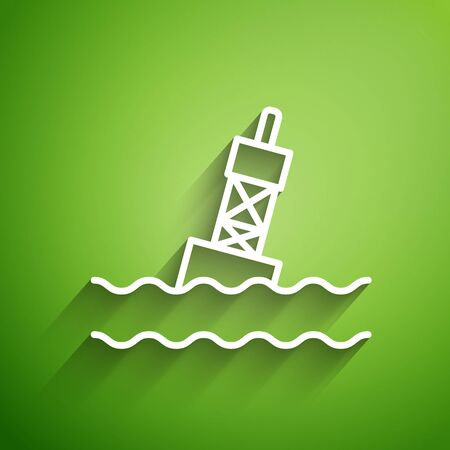 White line Floating buoy on the sea icon isolated on green background. Vector Illustration Иллюстрация