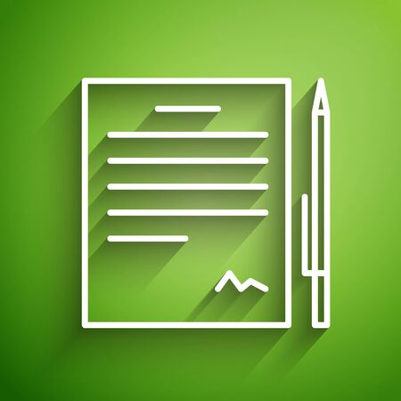 White line Contract with pen icon isolated on green background. File icon. Checklist icon. Business concept. Vector Illustration