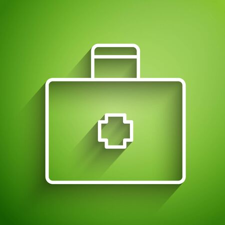 White line First aid kit icon isolated on green background. Medical box with cross. Medical equipment for emergency. Healthcare concept. Vector Illustration Zdjęcie Seryjne - 134826598