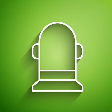 White line Buoy icon isolated on green background. Vector Illustration