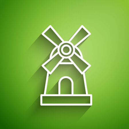 White line Windmill icon isolated on green background. Vector Illustration