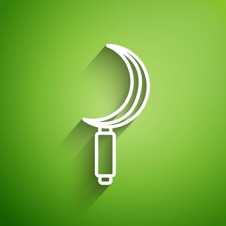 White line Sickle icon isolated on green background. Reaping hook sign. Vector Illustration Standard-Bild - 134826666