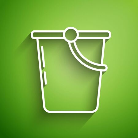 White line Bucket icon isolated on green background. Vector Illustration Ilustrace