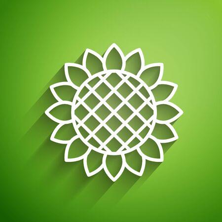 White line Sunflower icon isolated on green background. Vector Illustration Иллюстрация