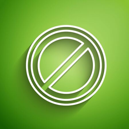 White line Stop sign icon isolated on green background. Traffic regulatory warning stop symbol. Vector Illustration