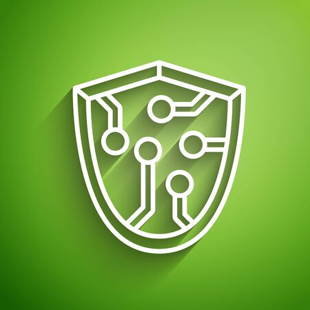 White line Cyber security icon isolated on green background. Shield sign. Safety concept. Digital data protection. Vector Illustration