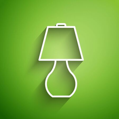 White line Table lamp icon isolated on green background. Vector Illustration