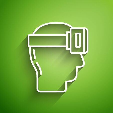 White line Virtual reality glasses icon isolated on green background. Stereoscopic 3d vr mask. Vector Illustration