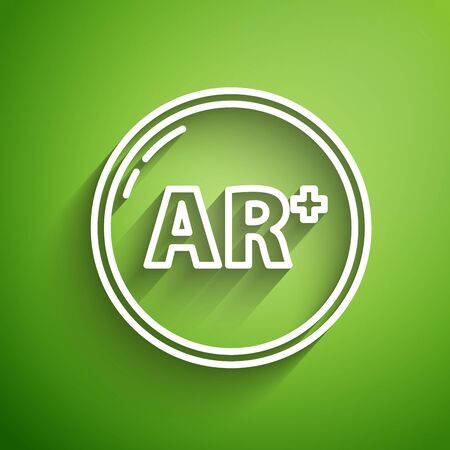 White line Ar, augmented reality icon isolated on green background. Vector Illustration Illustration