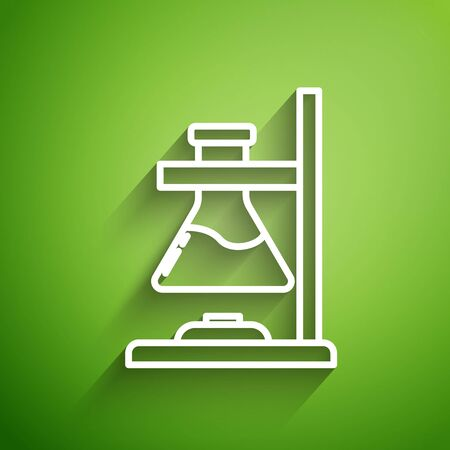 White line Glass test tube flask on fire heater experiment icon isolated on green background. Laboratory equipment. Vector Illustration
