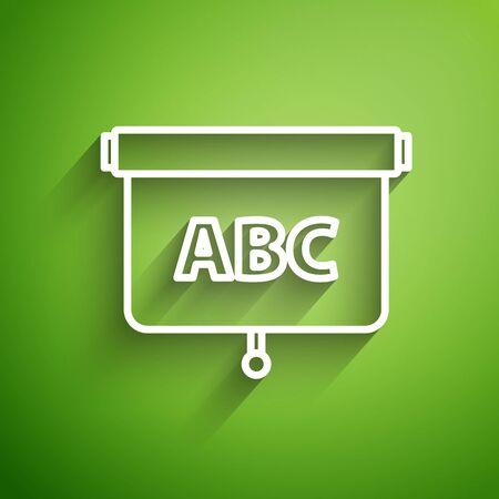 White line Chalkboard icon isolated on green background. School Blackboard sign. Vector Illustration Foto de archivo - 134834892