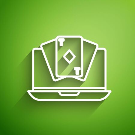 White line Online poker table game icon isolated on green background. Online casino. Vector Illustration