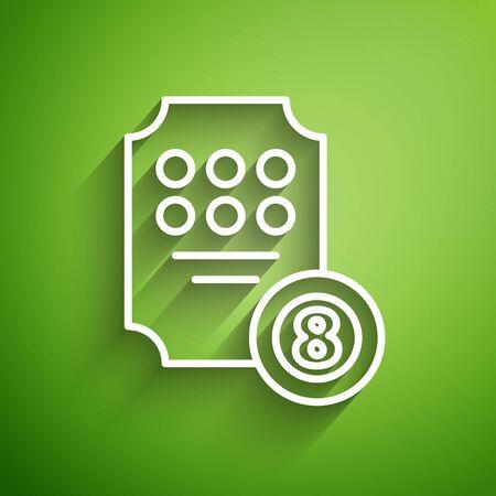 White line Online slot machine icon isolated on green background. Online casino. Vector Illustration Ilustrace