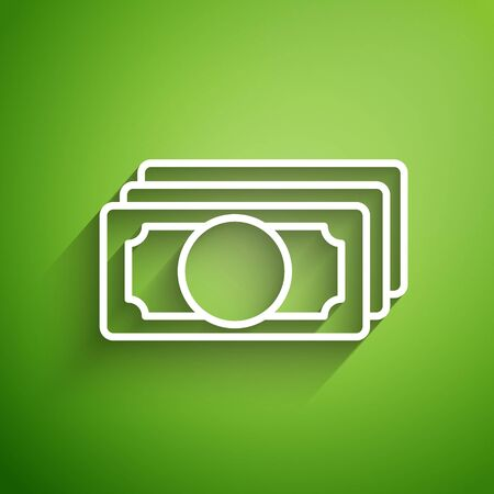 White line Stacks paper money cash icon isolated on green background. Money banknotes stacks. Bill currency. Vector Illustration