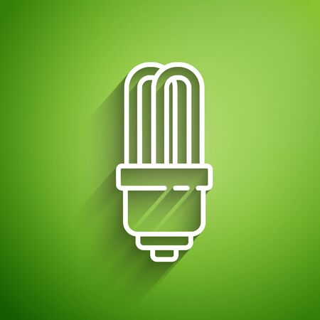 White line LED light bulb icon isolated on green background. Economical LED illuminated lightbulb. Save energy lamp. Vector Illustration 向量圖像