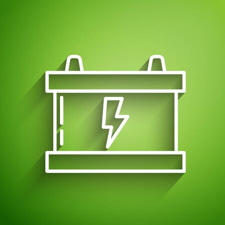 White line Car battery icon isolated on green background. Accumulator battery energy power and electricity accumulator battery. Lightning bolt. Vector Illustration Иллюстрация
