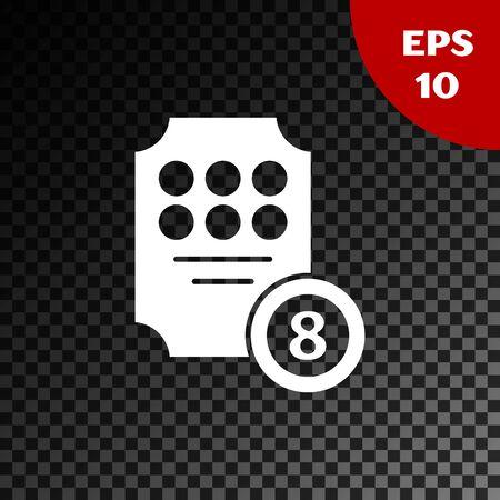 White Online slot machine icon isolated on transparent dark background. Online casino. Vector Illustration