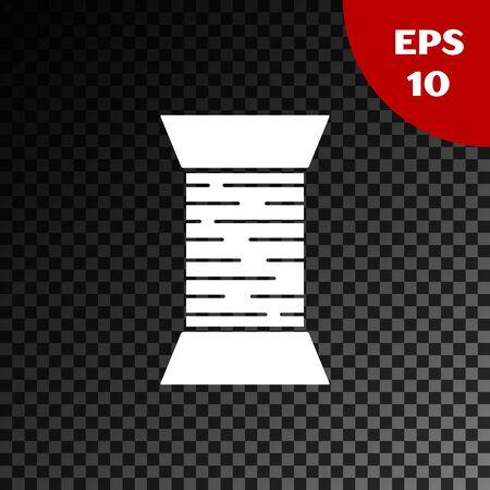 White Sewing thread on spool icon isolated on transparent dark background. Yarn spool. Thread bobbin. Vector Illustration Vector Illustratie
