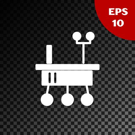 White Mars rover icon isolated on transparent dark background. Space rover. Moonwalker sign. Apparatus for studying planets surface. Vector Illustration