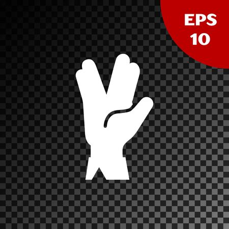 White Vulcan salute icon isolated on transparent dark background. Hand with vulcan greet. Spock symbol. Vector Illustration